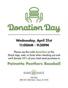 Baseball Shake Shack Fundraiser