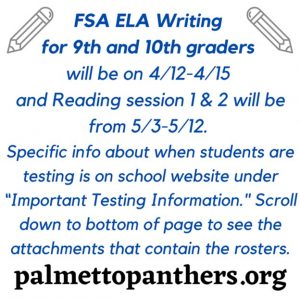 FSA Reading Testing for 9th and 10th Graders